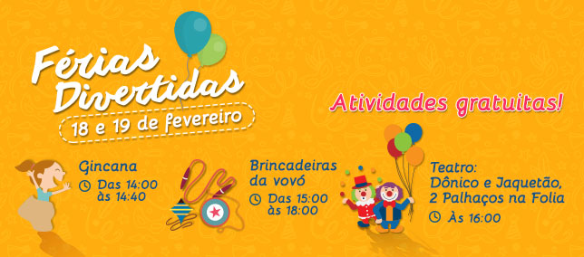 Confira as atividades infantis do Shopping para os dias 18 e 19