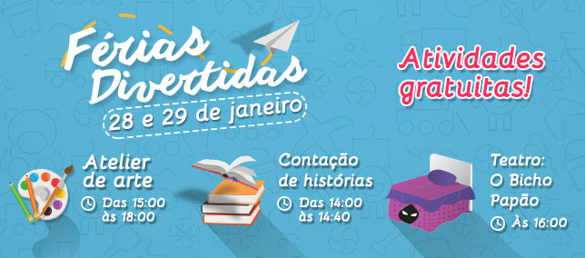 Confira as atividades infantis do Shopping para os dias 28 e 29