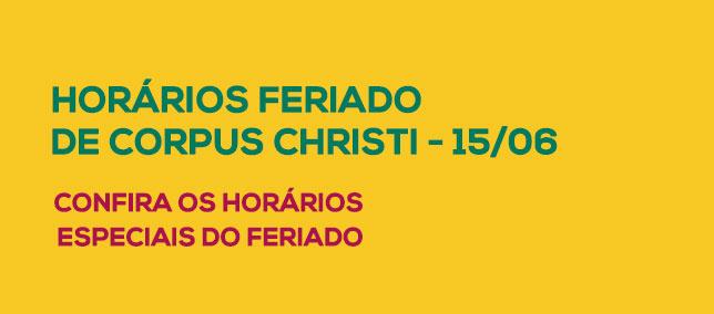 Horário Especial - Corpus Christi