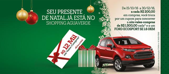 Shopping AguaVerde sorteia Ford EcoSport e R$ 12 mil em vales-compras